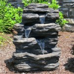 "24"" Rock Waterfall Garden Fountain w/ LED Lights: Perfect Garden Water Feature, Patio Fountain, Outdoor Fountain. Features Elegant Waterfall Flow"