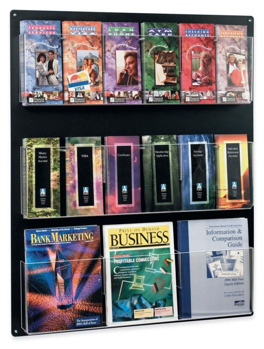 """Displays2go Wall Mounted Literature Rack, Hanging with Adjustable Pockets, 29x35 """" (RP9BLK)"""
