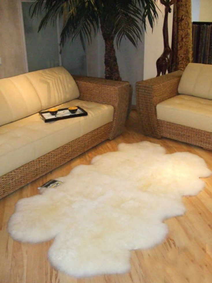 Genuine Sheepskin Rug Four Pelt Natural White/Ivory Approximately 4'x6', Quarto