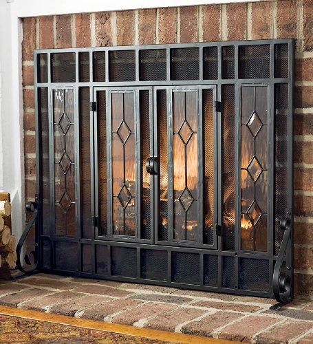 glass diamond fireplace screen with alternating panels and small
