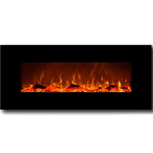 "Moda Flame Houston 50"" Electric Wall Mounted Fireplace in Black"