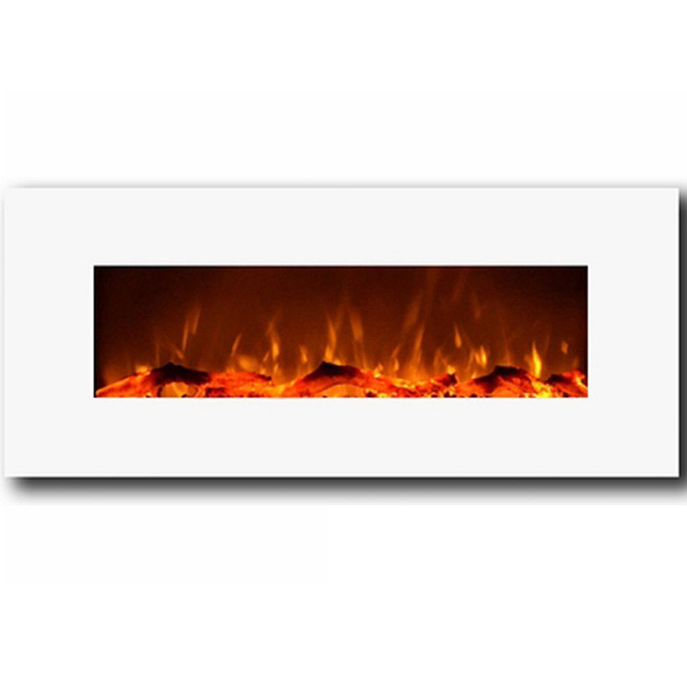 "Moda Flame Houston 50"" Electric Wall Mounted Fireplace in White"