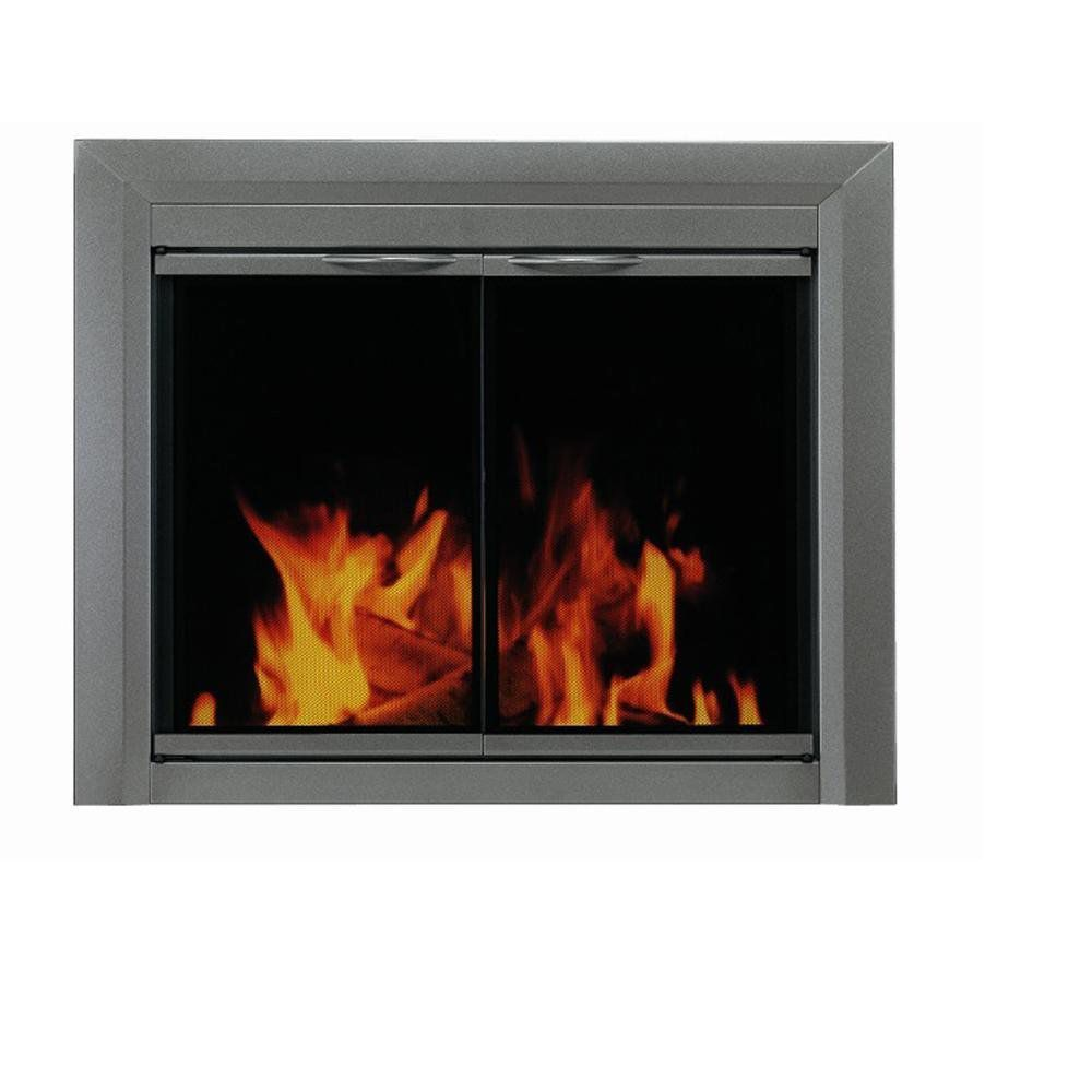 Pleasant Hearth CR-3402 Craton Fireplace Glass Door, Gunmetal, Large