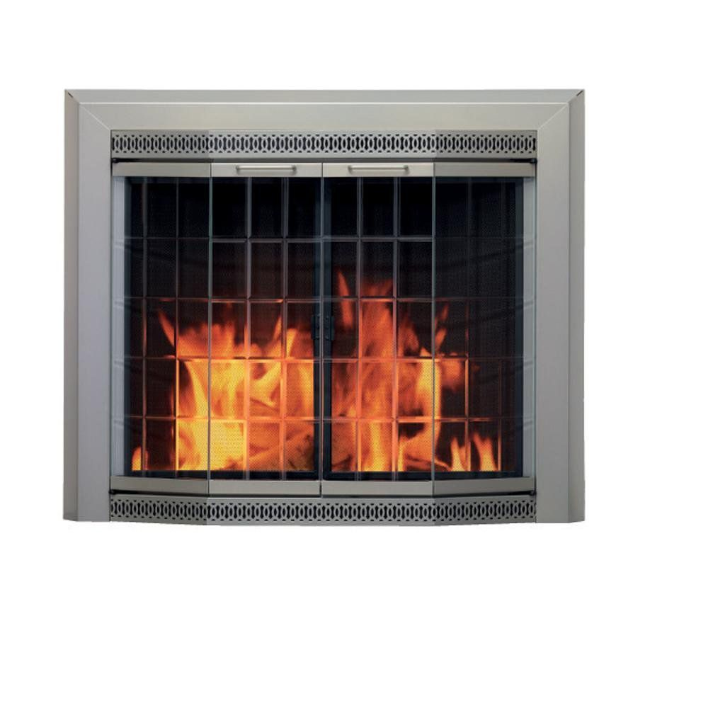 Pleasant Hearth GN-7301 Galena Fireplace Glass Door, Sunlight Nickel, Medium