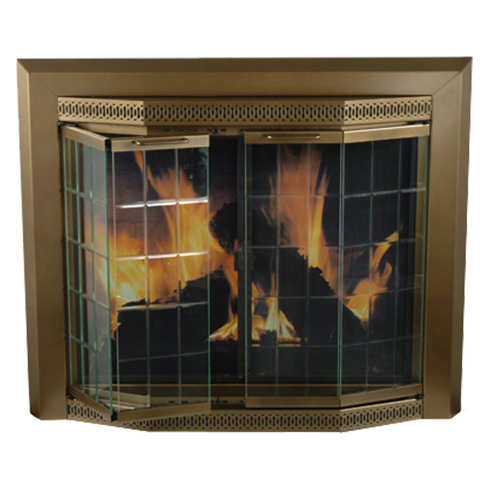 Pleasant Hearth GR-7202 Grandoir Fireplace Glass Door, Antique Brass, Large