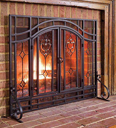 Plow & Hearth Two-Door Floral Fireplace Hearth Screen With Glass Accents - Powder Coated Tubular Steel, Beveled Glass and Mesh - Black - 44''W x 33''H