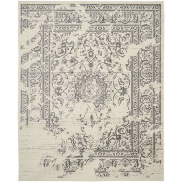 Safavieh Adirondack Collection ADR101B Ivory and Silver Area Rug, 8 feet by 10 feet (8' x 10')