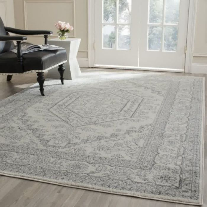 Safavieh Adirondack Collection ADR108B Ivory and Silver Area Rug, 6 feet by 9 feet (6' x 9')