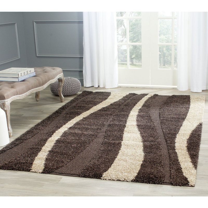 Safavieh Florida Shag Collection SG451-2813 Dark Brown Background and Beige Shag Area Rug, 8 feet by 10 feet (8' x 10')