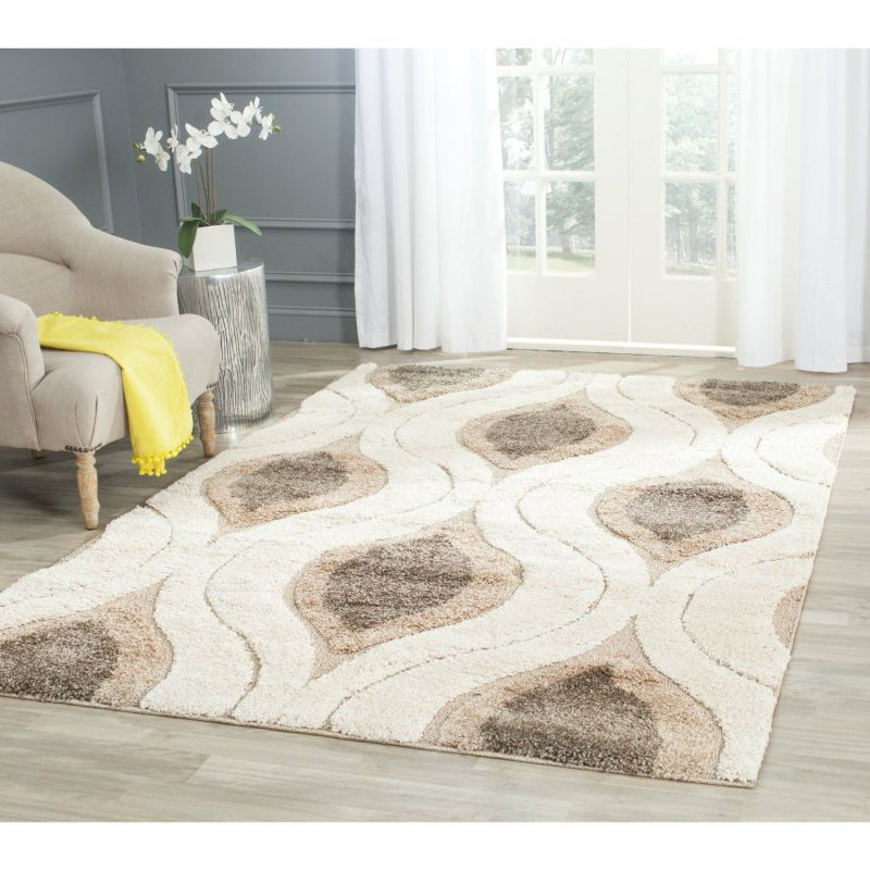 Safavieh Florida Shag Collection SG461-1179 Cream and Smoke Shag Area Rug, 8 feet by 10 feet (8' x 10')