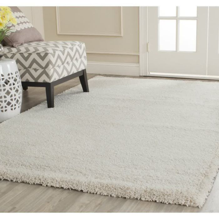 "Safavieh Milan Shag Collection SG180-1212 Ivory Shag Area Rug, 8 feet 6 inches by 12 feet (8'6"" x 12')"