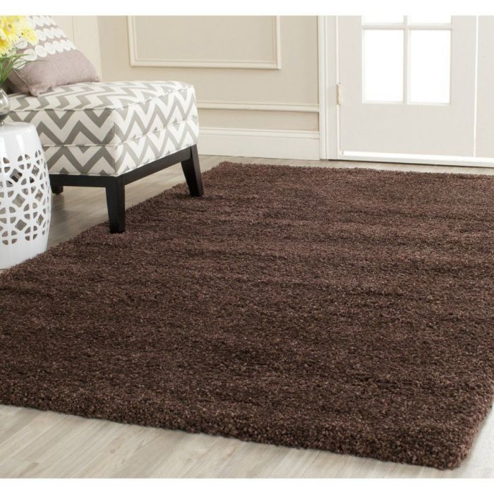 Safavieh Milan Shag Collection SG180-2525 Brown Shag Area Rug, 6 feet by 9 feet (6' x 9')