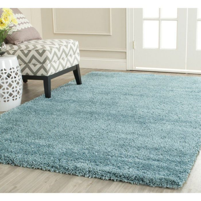 Safavieh Milan Shag Collection SG180-6060 Aqua Blue Shag Area Rug, 6 feet by 9 feet (6' x 9')