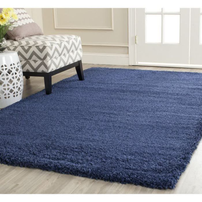Safavieh Milan Shag Collection SG180-7070 Navy Shag Area Rug, 3 feet by 5 feet (3' x 5')