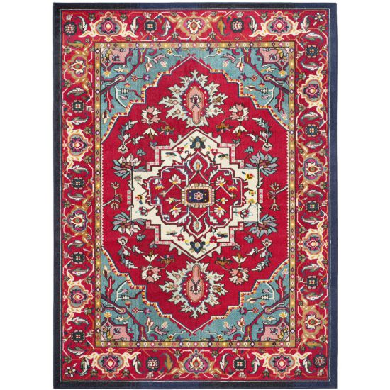 Safavieh Monaco Collection MNC207C Red and Turquoise Area Rug, 9 feet by 12 feet (9' x 12')
