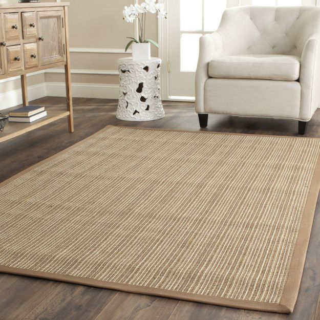 Safavieh Natural Fiber Collection NF442D Handmade Tan and Tan Sisal Area Rug, 6 feet by 9 feet (6' x 9')
