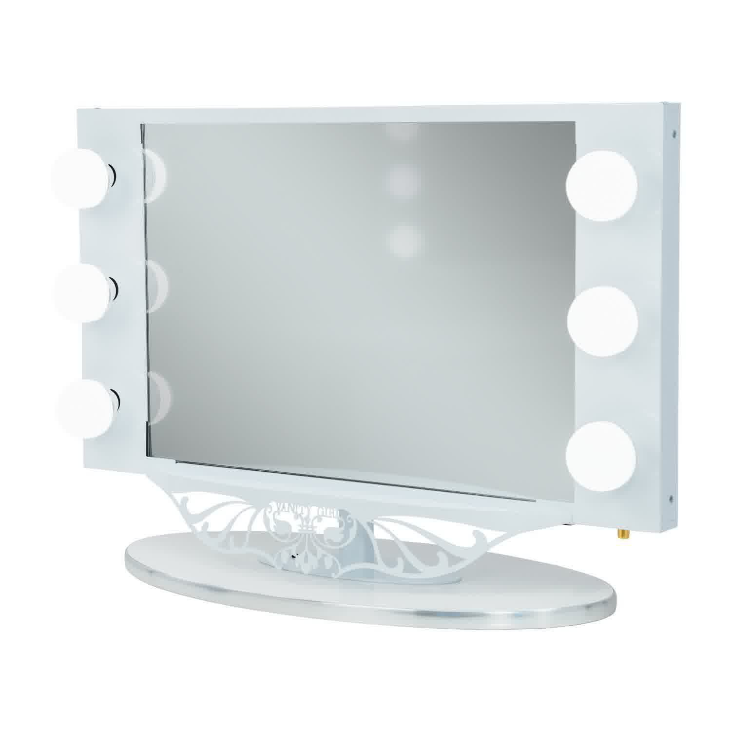 Vanity Mirror With Lights White : Starlet Lighted Vanity Mirror in Simple Frame Design