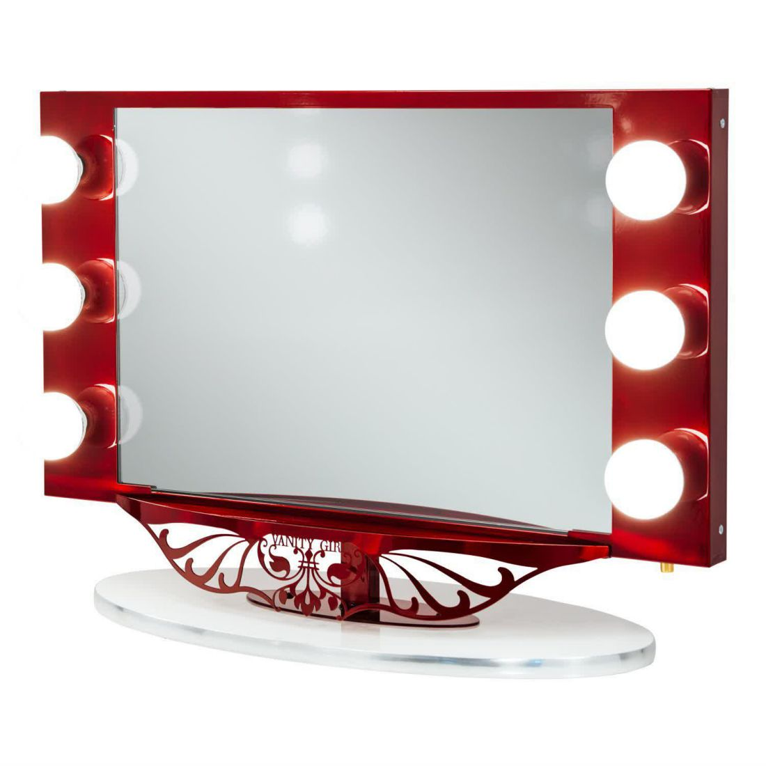 vanity girl hollywood starlet lighted vanity mirror red. Black Bedroom Furniture Sets. Home Design Ideas