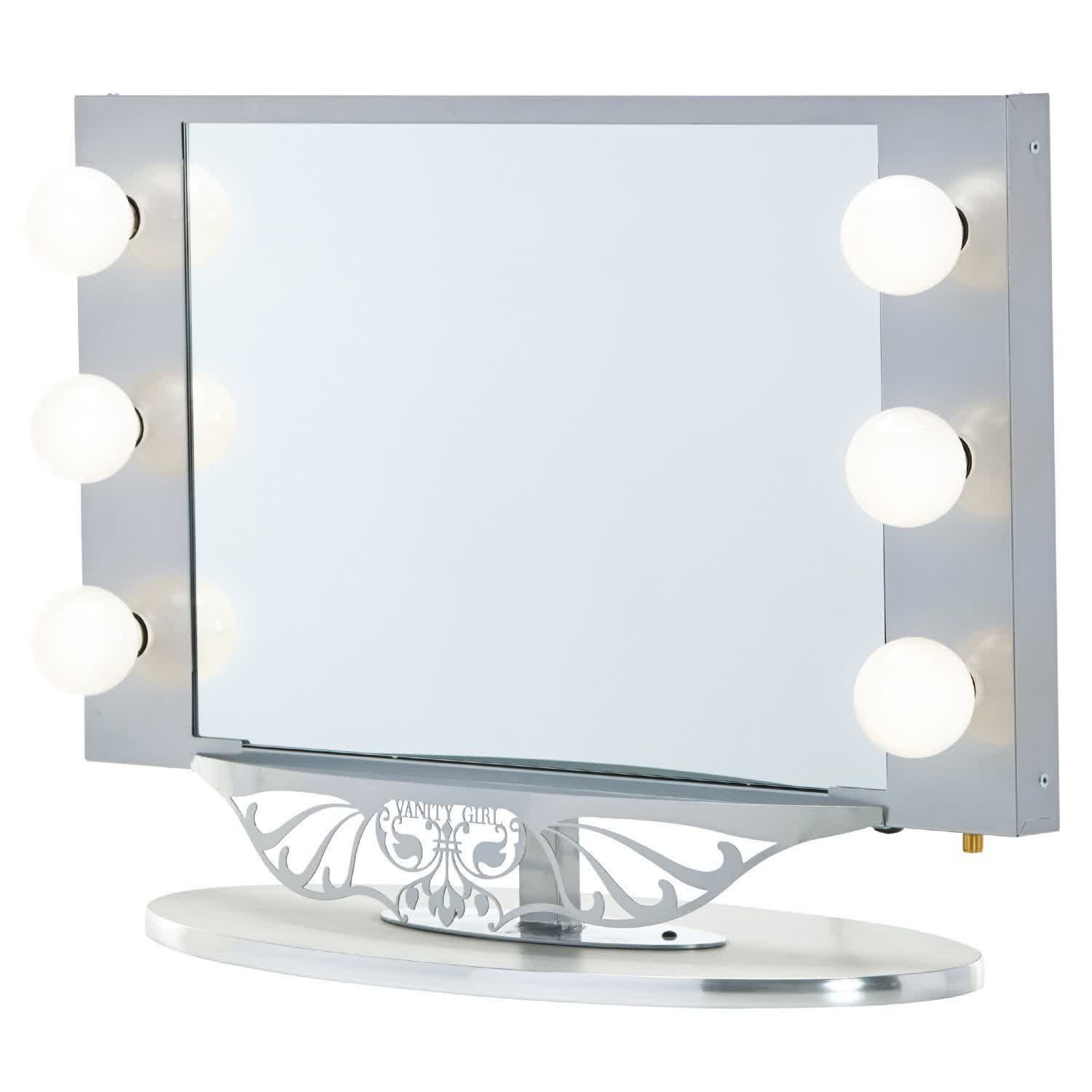 vanity girl hollywood starlet lighted vanity mirror silver 34 x 23. Black Bedroom Furniture Sets. Home Design Ideas