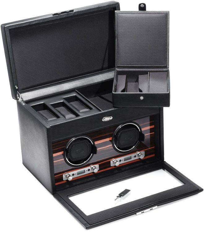 WOLF 457256 Roadster Double Watch Winder with Cover and Storage, Black