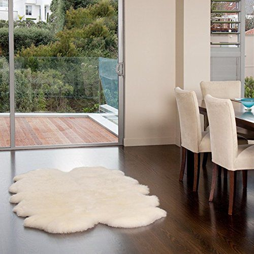 WaySoft(TM) Eco-Friendly Ivory New Zealand/Australia Sheepskin Rug-Genuine Wool; 4ft x 6ft