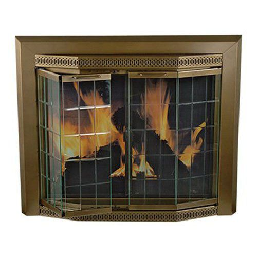 Pleasant Hearth GR-7201 Grandoir Fireplace Glass Door, Antique Brass, Medium