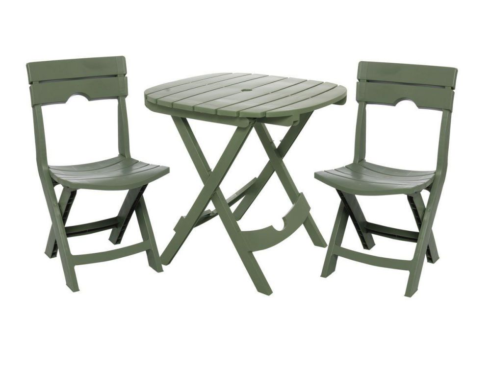Adams Manufacturing Quik-Fold 3-Piece Cafe Bistro Set, Sage