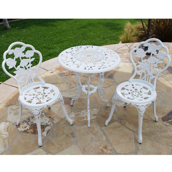 BELLEZZA© 3-Piece Rose Bistro Set with 24-Inch Top Table, White