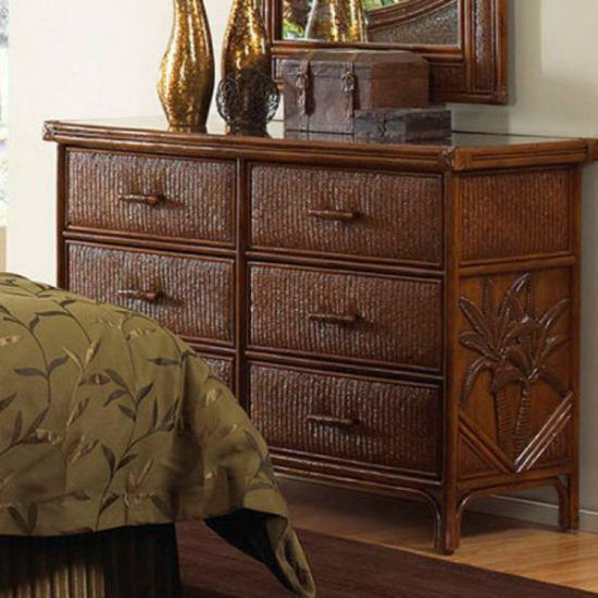 Cancun Palm Six Drawer Dresser In TC Antique Finish