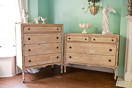 Custom Order 2 Pc Antique Dresser Shabby Chic Distressed Tan White Tall Boy Cottage Set Cottage Prairie