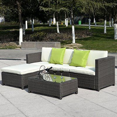 GHP Set of 5pcs Gradient Brown PE Strong Steel Frame Patio Outdoor Rattan Wicker, Model: , Home/Garden & Outdoor Store