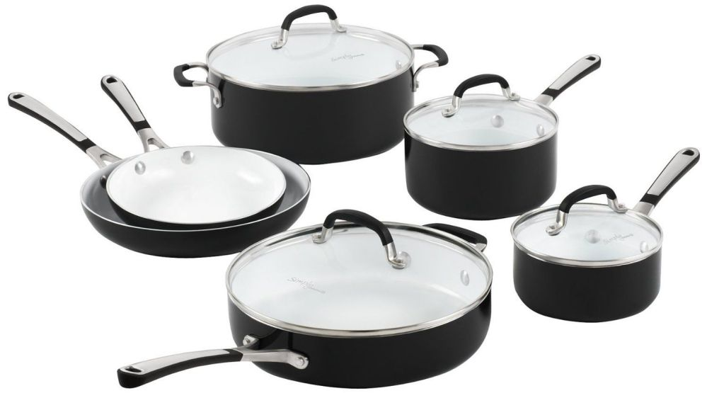 Simply Calphalon Ceramic Nonstick, Set, 10-Piece, Black