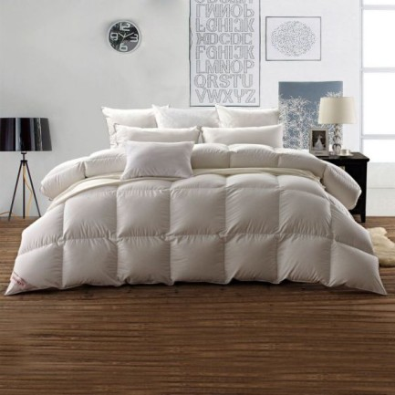 Snowman White Goose Down Comforter 800 Fill Power King-Egyptian Cotton Shell 600 Thread Count-Solid White