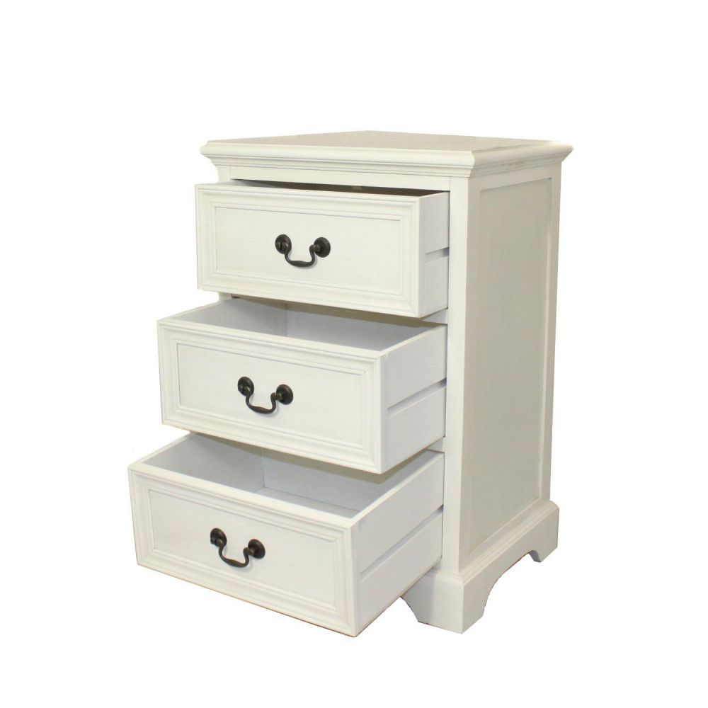 Urban Designs 3-Drawer Solid Wood Night Stand - Antiqued White