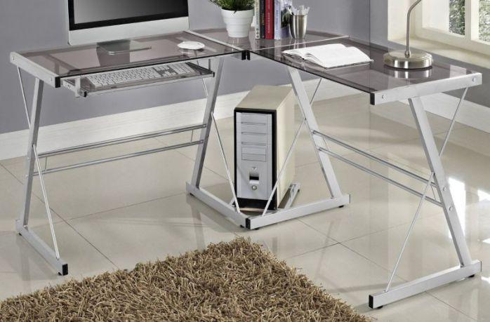 WE Furniture 3 Piece Soren Silver with Smoke Glass Corner Desk, Grey