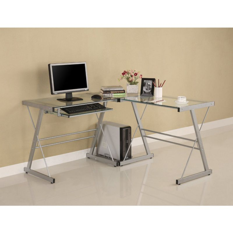 Walker Edison 3-Piece Contemporary Glass and Steel Desk, Silver