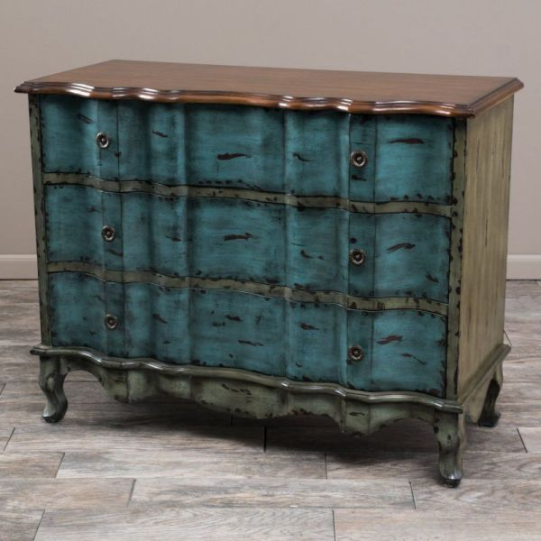 Wayne Antique Blue Green Brown 3-Drawer Cabinet