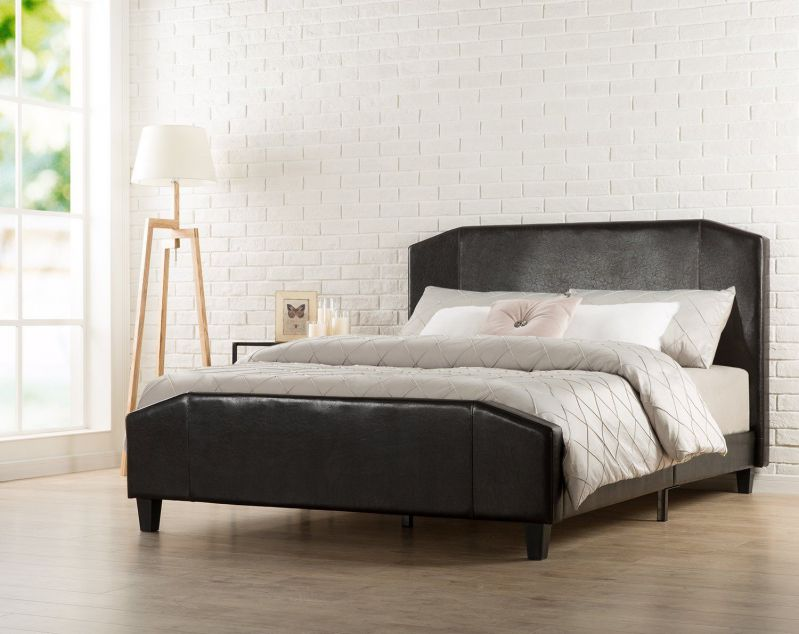Zinus Sculpted Faux Leather Upholstered Platform Bed with Footboard and Wooden Slats, Queen, Espresso
