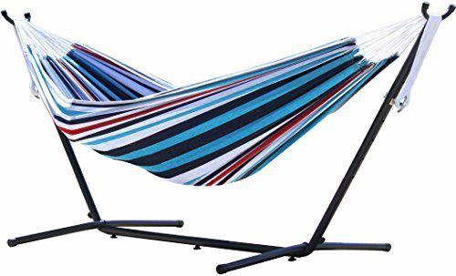 Vivere Double Hammock with Space Saving Steel Stand, Denim by Vivere Ltd. Hammocks