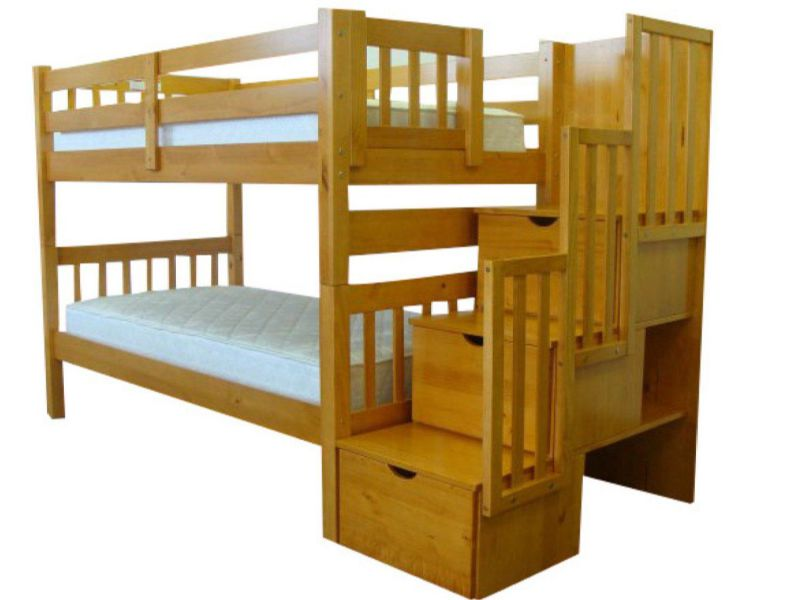 Bedz King Stairway Bunk Twin over Twin Bed with 3 Drawers in the Steps, Honey