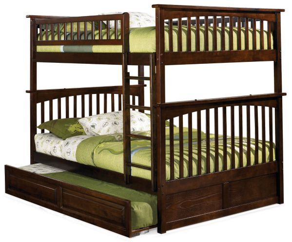 Columbia Bunk Bed with Trundle Bed, Full Over Full, Antique Walnut