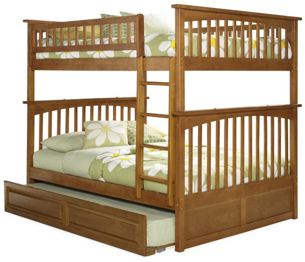 Columbia Bunk Bed with Trundle Bed, Full Over Full, Caramel Latte