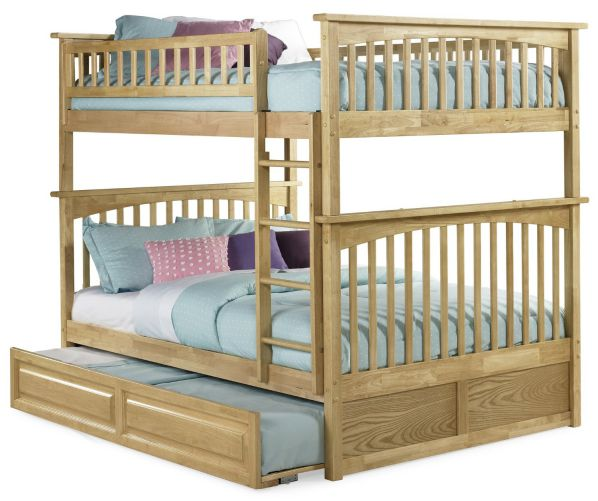 Columbia Bunk Bed with Trundle Bed, Full Over Full, Natural