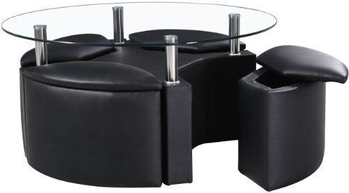 Dakota Round Chrome & Clear Glass Coffee Table with 4 Ottoman Storage Stools (Black) by Right Deals UK