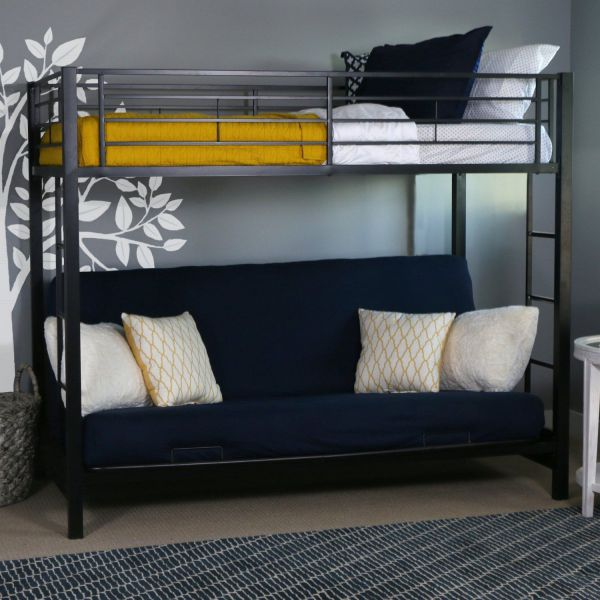 Metal Twin over Futon/Full Bunk Bed, Black