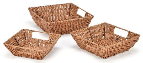 Trademark Innovations Square Wicker Look Baskets with Built In Handles (Set of 3)