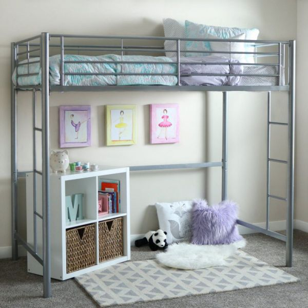 WE Furniture Loft Bunk Bed, Twin, Metal Silver