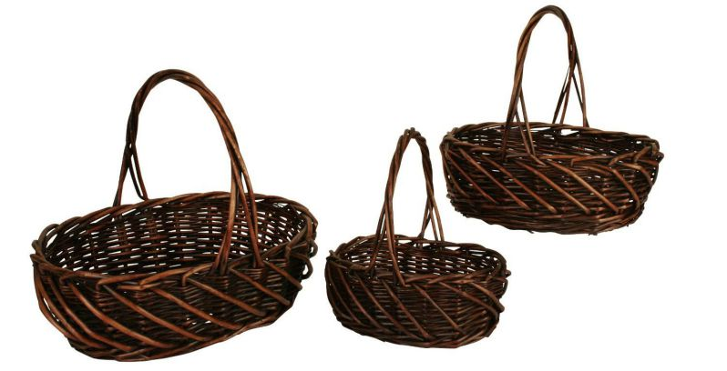 Wald Imports Dark Stained Willow Baskets with Handles, Set of 3