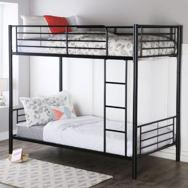 Walker Edison Twin-Over-Twin Bunk Bed, Black