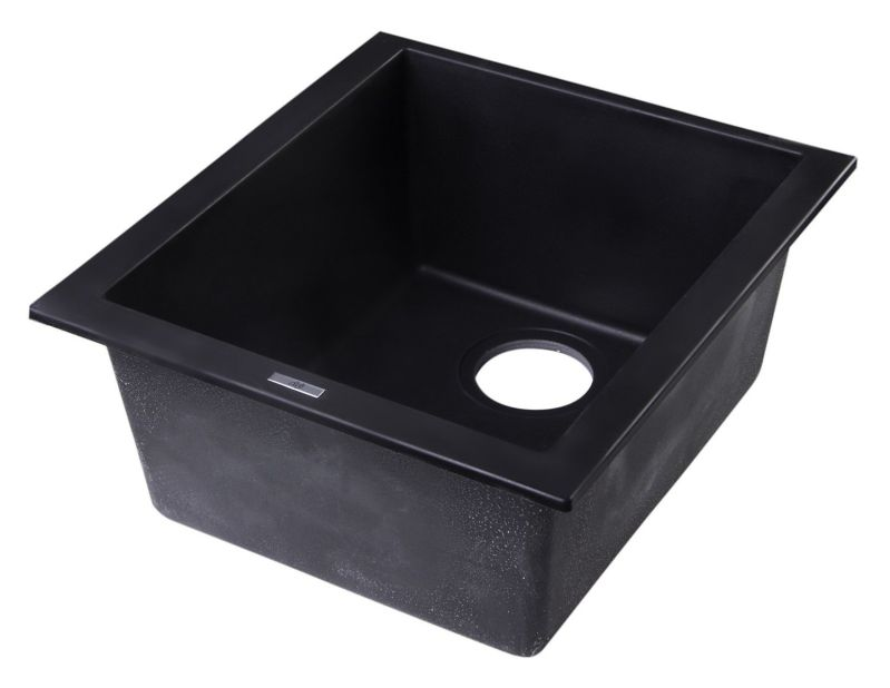"ALFI brand AB1720UM-BLA Undercount Rectangular Granite Composite Kitchen Prep Sink, 17"", Black"